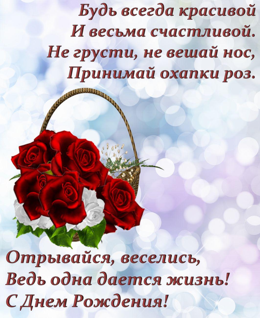 окрытка - корзина с розами и пожелание для женщины
