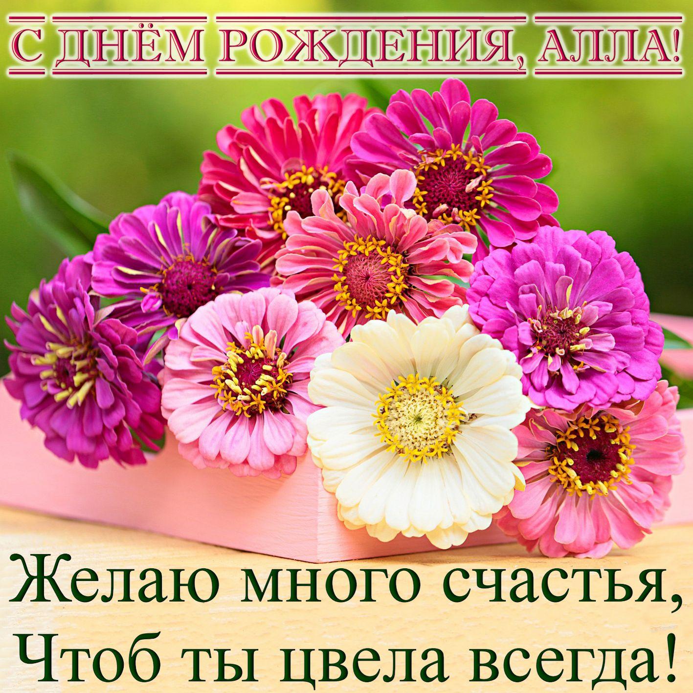 Картинка с красивыми цветами Алле на День рождения