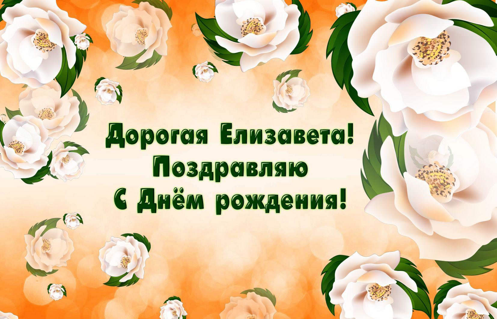 Открытка на День рождения - поздравление и цветы для Елизаветы
