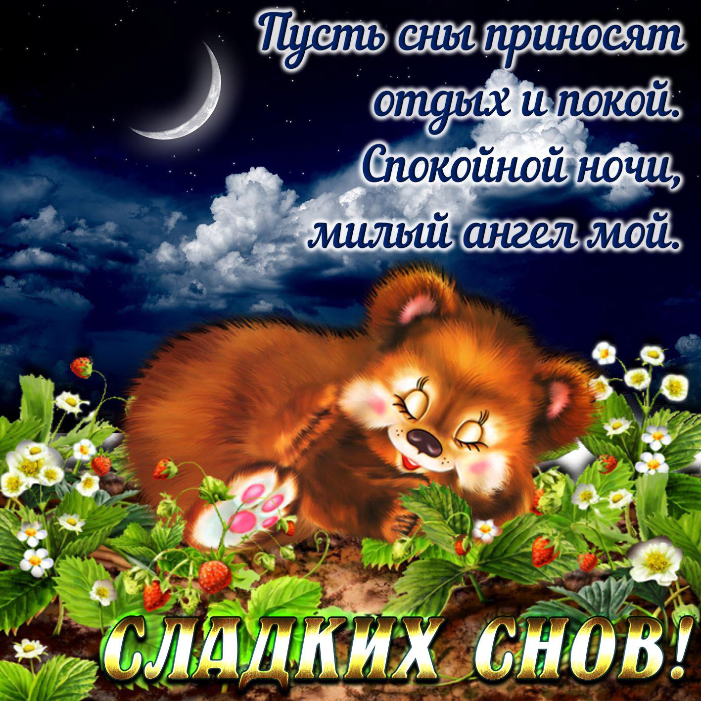 Открытка для любимого с пожелание доброй ночи