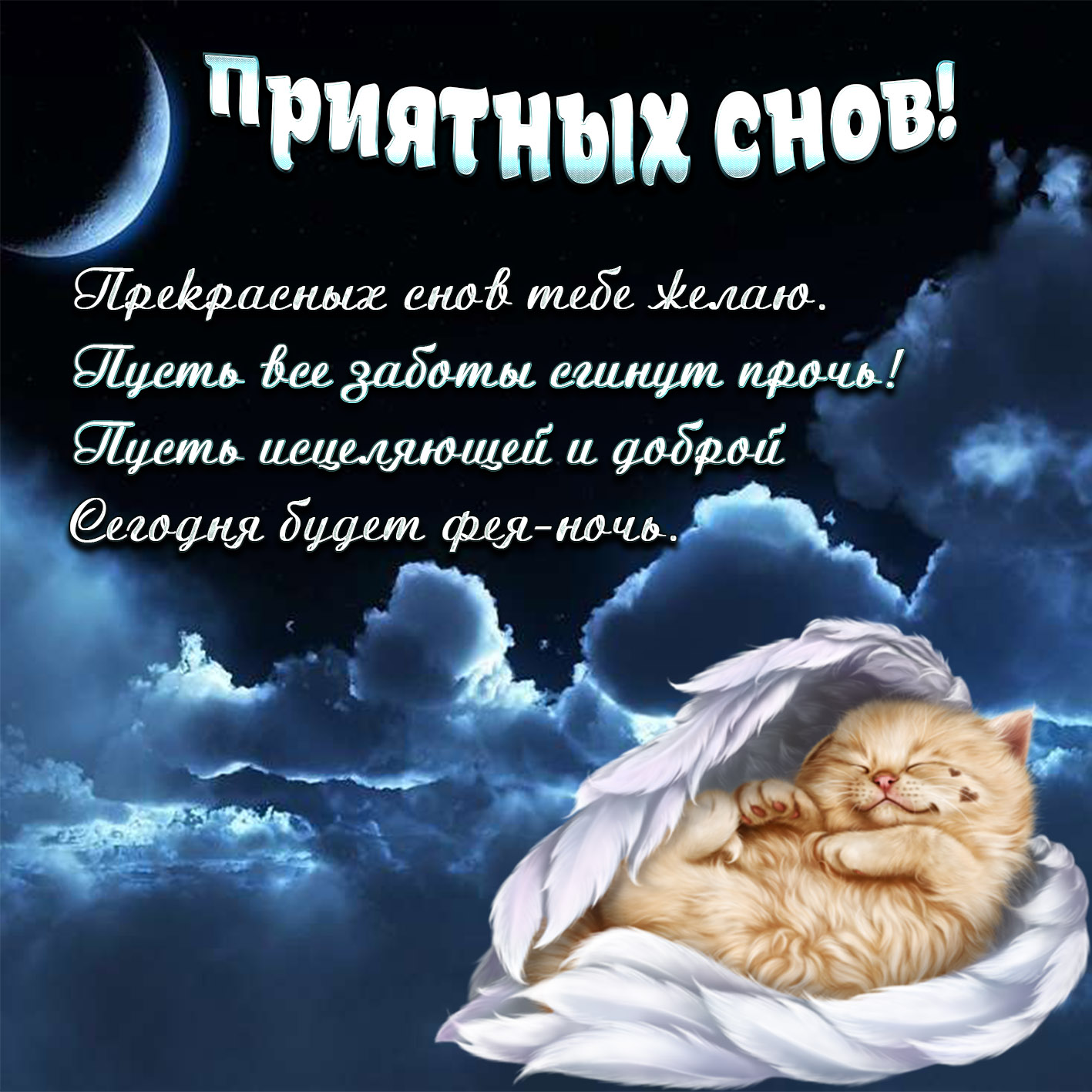 Открытки любимой девушке спокойной ночи с котами