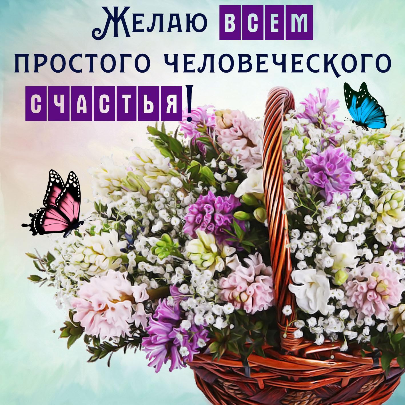 Картинки цветы и пожелания счастья, днем рождения открытки