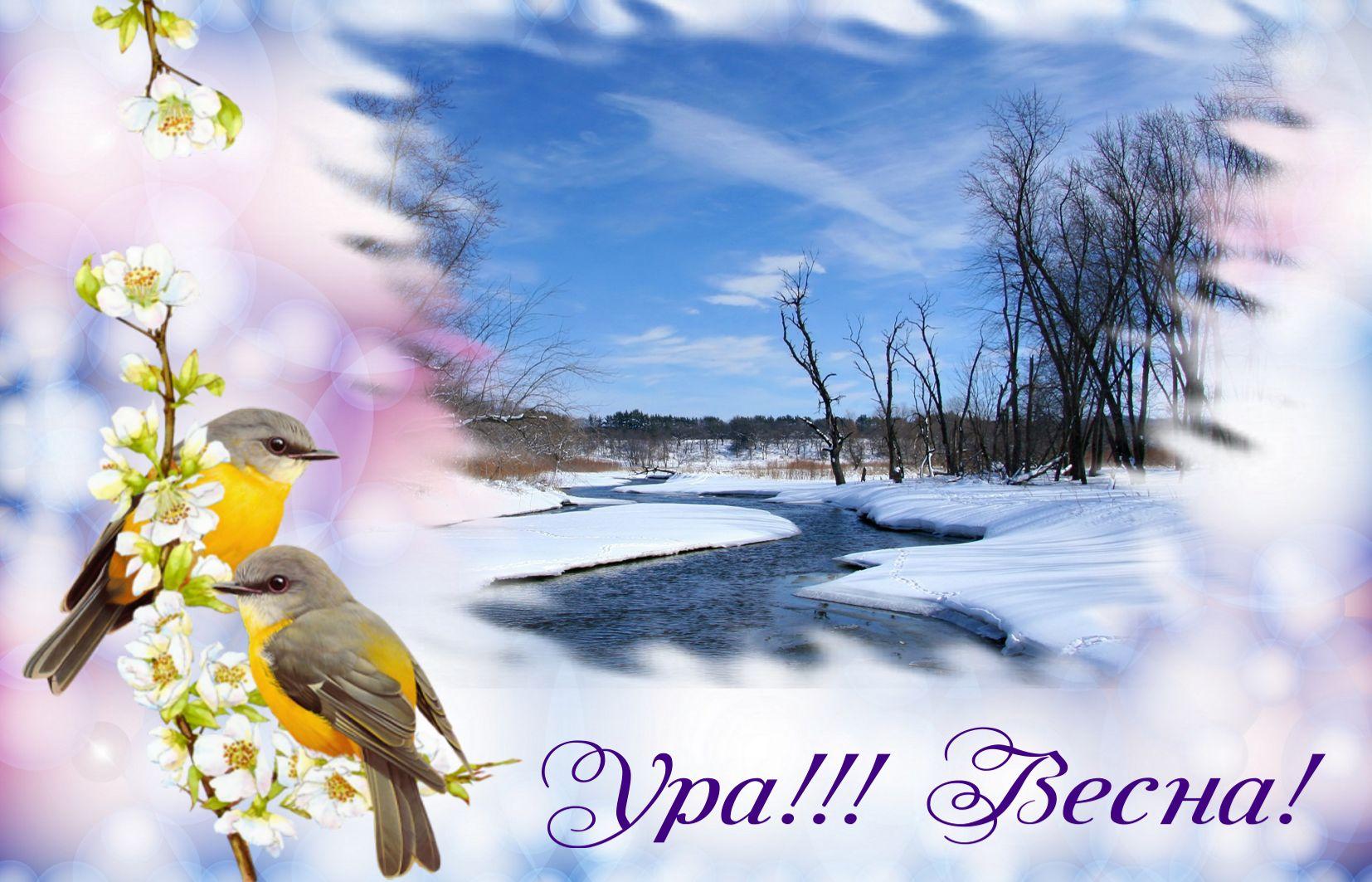 Днем, открытка с 1 марта с весной
