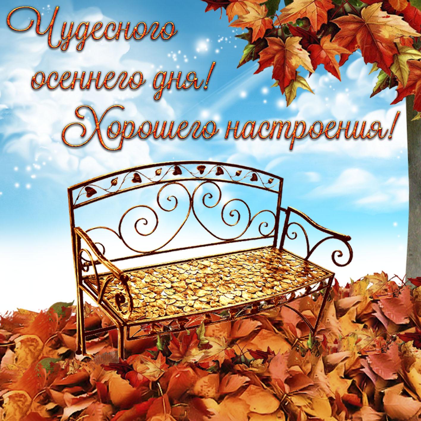 Открытка с пожеланием на осень со скамейкой на опавших листьях