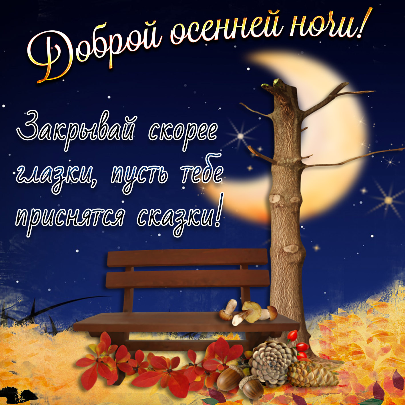 Красивое пожелание доброй осенней ночи