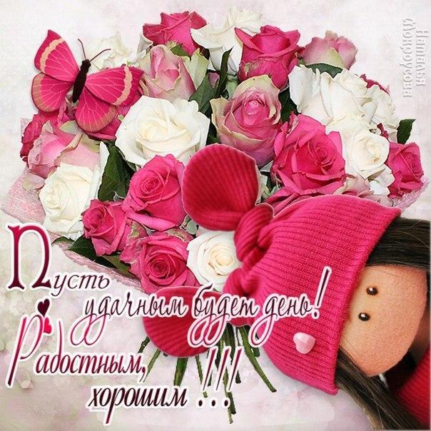 есть открытки цветы с пожеланием хорошего дня и отличного настроения материалов, которых производят