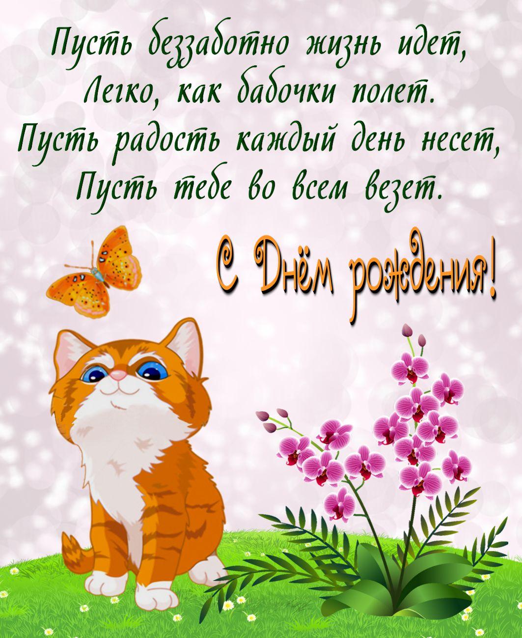 Поздравления с днем рождения девочку картинки с котенком