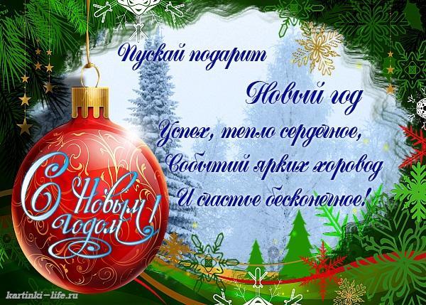Пускай подарит Новый год Успех, тепло сердечное, Событий ярких хоровод И счастье бесконечное!