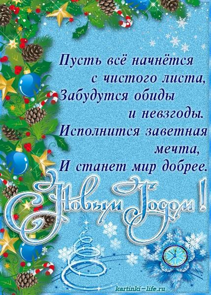 Пусть всё начнётся с чистого листа, Забудутся обиды и невзгоды. Исполнится заветная мечта, И станет мир добрее. С Новым годом!