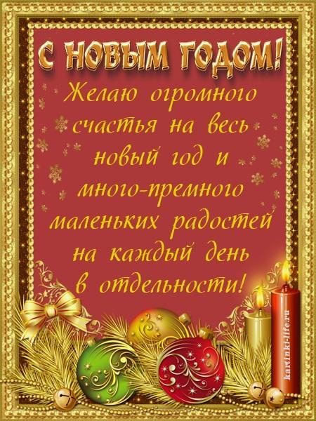 С Новым годом! Желаю огромного счастья на весь новый год и много-премного маленьких радостей на каждый день в отдельности!