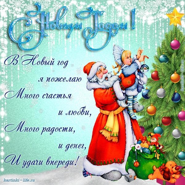 В Новый год я пожелаю Много счастья и любви, Много радости, и денег, И удачи впереди!