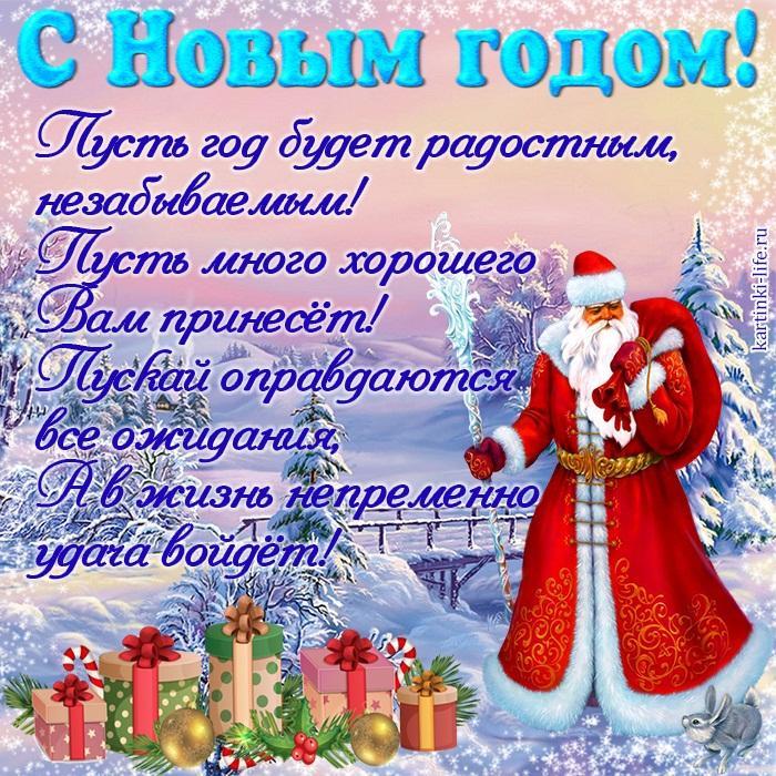 Пусть год будет радостным, незабываемым! Пусть много хорошего Вам принесёт! Пускай оправдаются все ожидания, А в жизнь непременно удача войдёт!