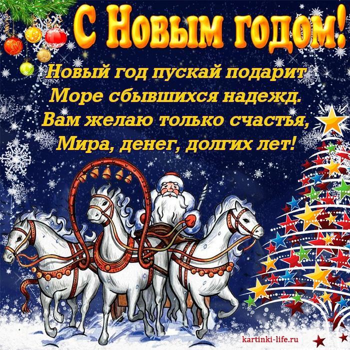 Новый год пускай подарит Море сбывшихся надежд. Вам желаю только счастья, Мира, денег, долгих лет!