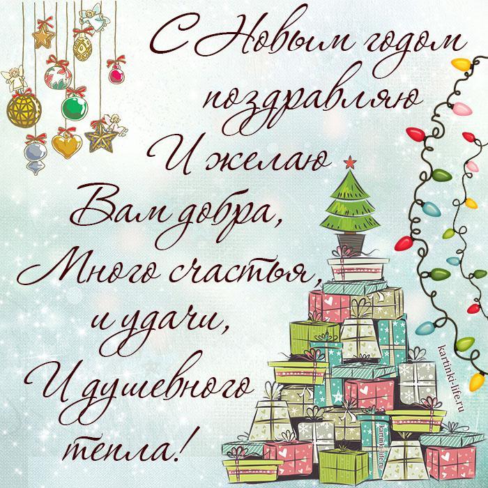 С Новым годом поздравляю И желаю Вам добра, Много счастья, и удачи, И душевного тепла!