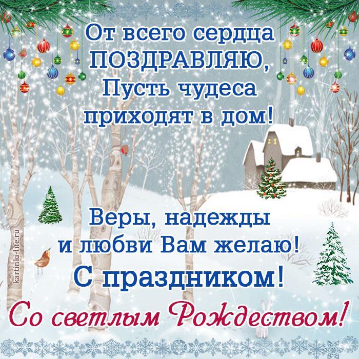 От всего сердца поздравляю, Пусть чудеса приходят в дом! Веры, надежды и любви Вам желаю! С праздником! Со светлым Рождеством!