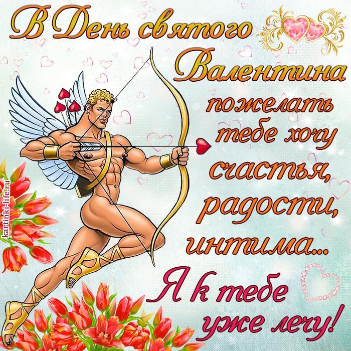 Поздравление с Днём святого Валентина для любимой: В День святого Валентина пожелать тебе хочу счастья, радости, интима… Я к тебе уже лечу!
