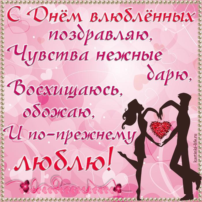 С Днём влюблённых поздравляю, Чувства нежные дарю, Восхищаюсь, обожаю, И по-прежнему люблю!