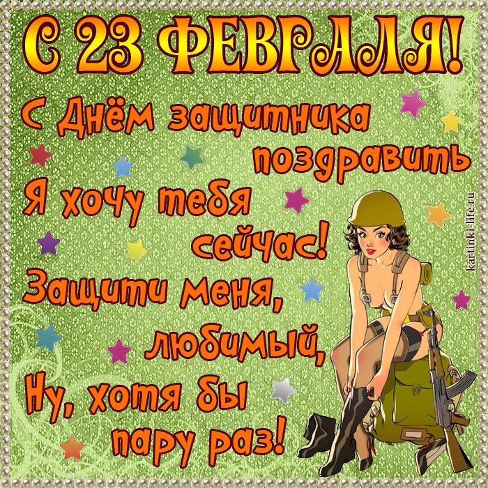 Прикольная открытка с 23 февраля для любимого: С Днём защитника поздравить Я хочу тебя сейчас! Защити меня, любимый, Ну, хотя бы пару раз!