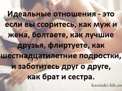 Идеальные отношения - это если вы ссоритесь, как муж и жена, болтаете, как лучшие друзья, флиртуете, как шестнадцатилетние подростки, и заботитесь друг о друге, как брат и сестра.
