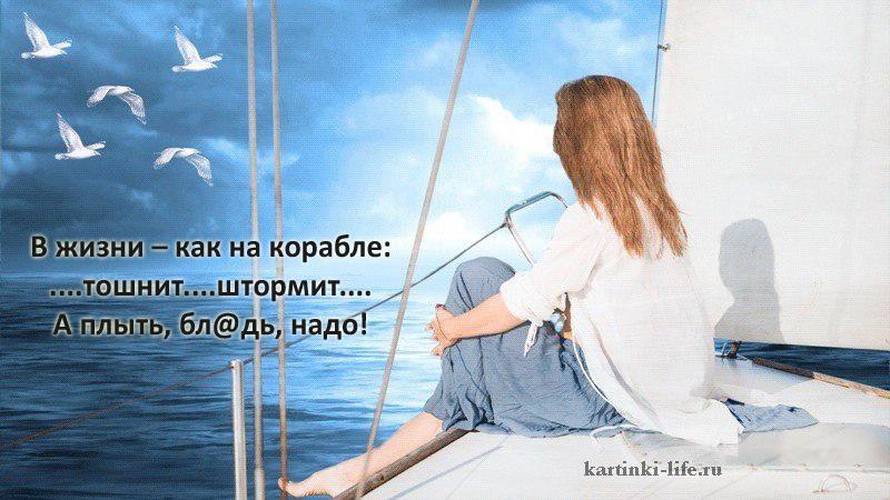 В жизни – как на корабле: ....тошнит....штормит.... А плыть, бл@дь, надо!
