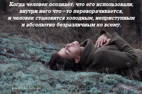 Когда человек осознаёт, что его использовали, внутри него что-то переворачивается, и человек становится холодным, неприступным и абсолютно безразличным ко всему.