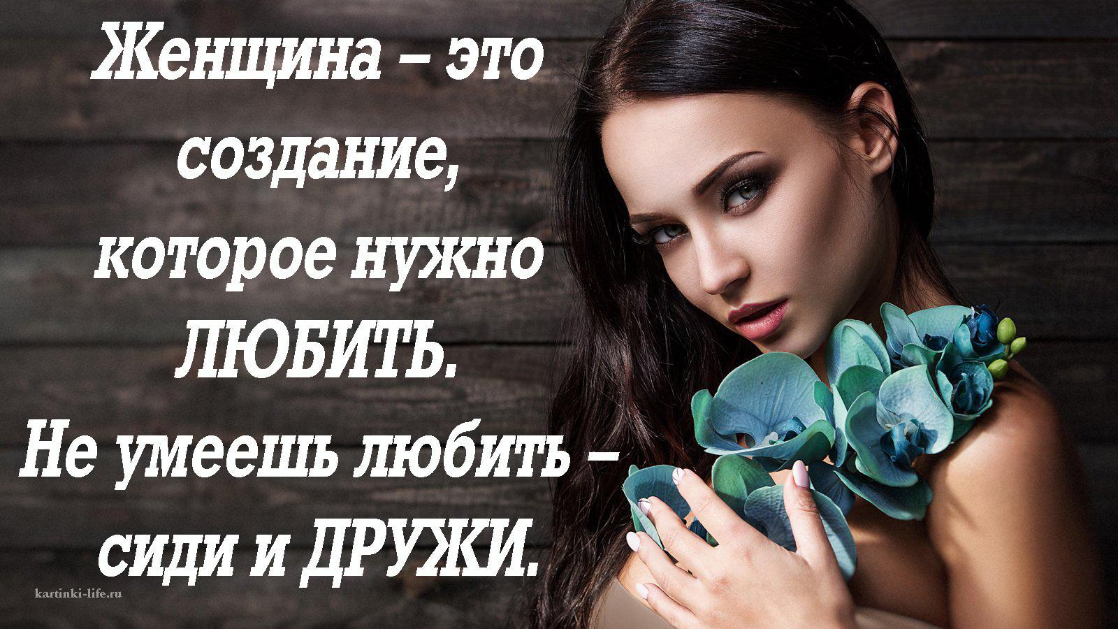 Женщина – это создание, которое нужно любить. Не умеешь любить – сиди и дружи.