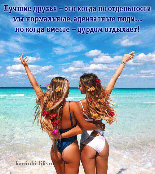 Лучшие друзья – это когда по отдельности мы нормальные, адекватные люди... но когда вместе – дурдом отдыхает!