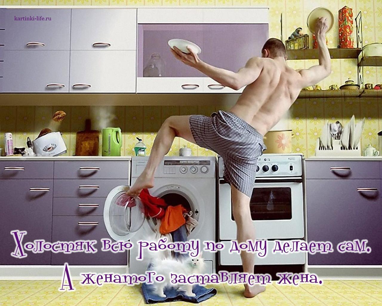 Холостяк всю работу по дому делает сам. А женатого заставляет жена.