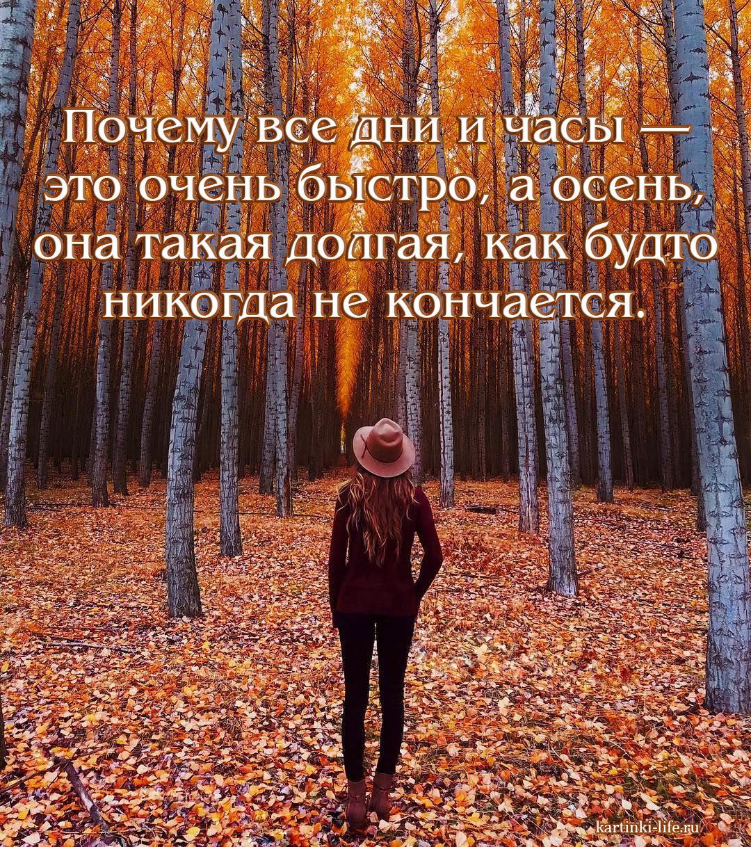 Почему все дни и часы — это очень быстро, а осень, она такая долгая, как будто никогда не кончается.