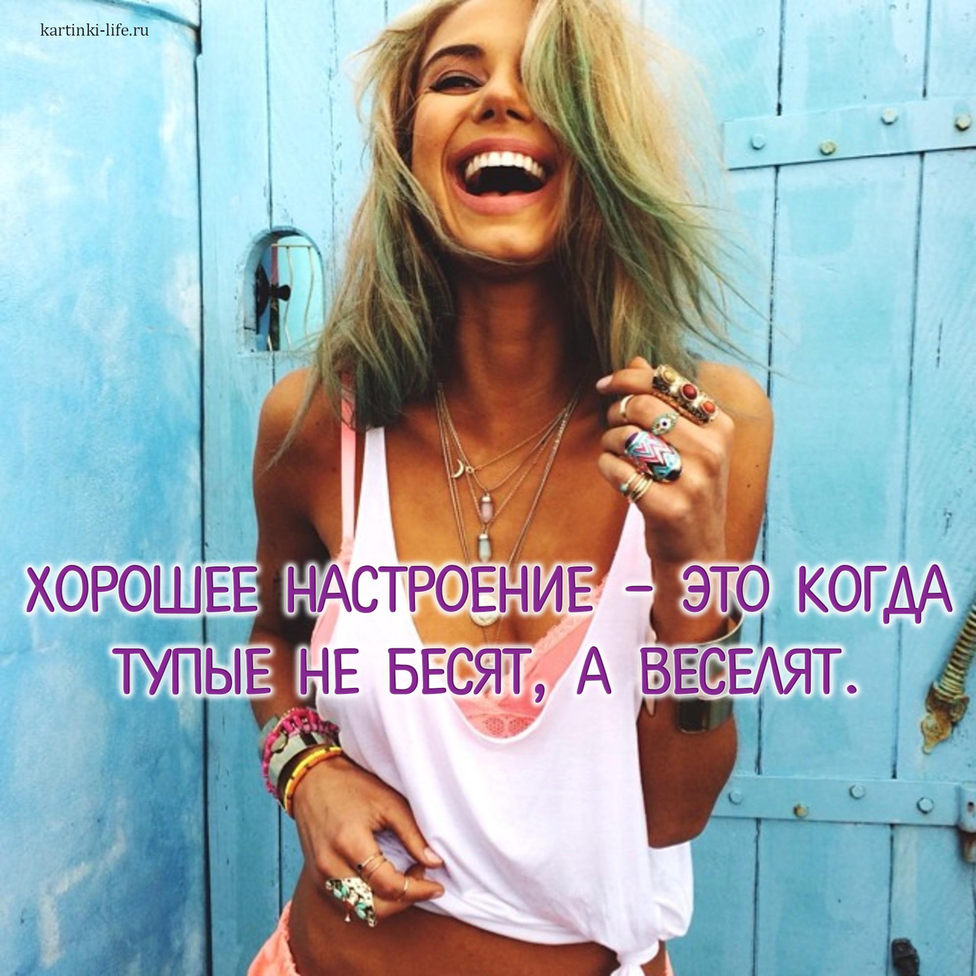 Хорошее настроение – это когда тупые не бесят, а веселят.